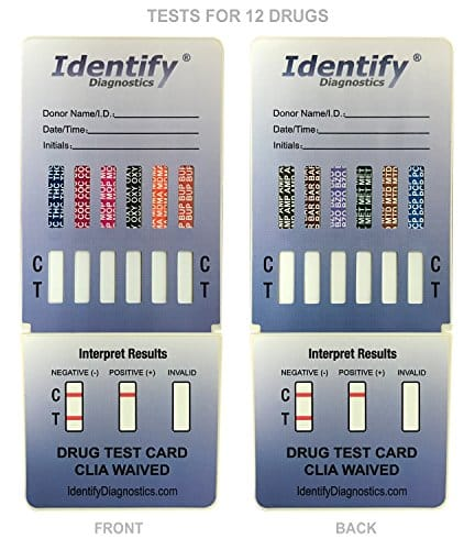 5 Pack Identify Diagnostics 12 Panel Drug Test Dip with Low Opiates Cutoff