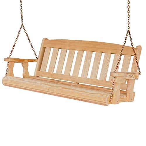 CAF Amish Mission Style Swing With Cupholders