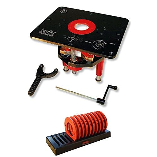 JessEm 02120 Mast-R-Lift II Lift Router + 02030 10-Piece Insert Ring Kit with Caddy Bundle