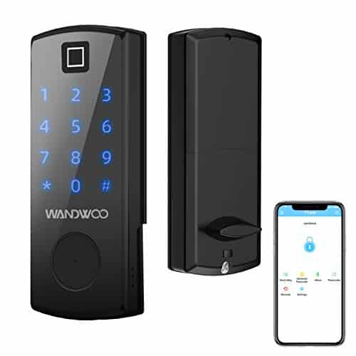 Wandwoo Smart Door Lock with Bluetooth Secure Finger ID Card Swipe Mechanical Keys Enabled Anti-peep Code Auto Lock Free APP for Home Office