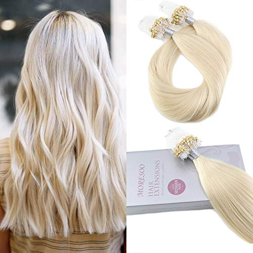 Moresoo 18 Inch Micro Ring Beads Tipped 100% Human Hair Extensions